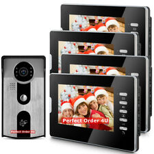 "7"" Video Door Phone Doorbell Video Intercom 4 Monitors+RFID Camera Night Version"