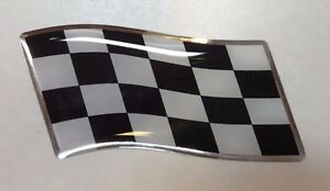 80mm WAVING CHEQUERED FLAG Sticker/Decal - CHROME/BLACK WITH DOMED GEL FINISH