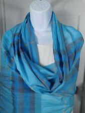 AUTHENTIC BURBERRY Turquoise Blue Aqua Gray Plaid Linen Scarf