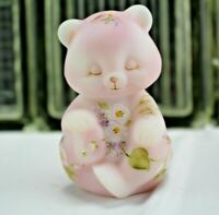FENTON CIRCLE OF LOVE w Dove Sitting BEAR Rosalene Satin From Rice Collection