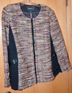 LAFAYETTE 148 Autumn Boucle/Leather Skirt Suit 18W NWT!