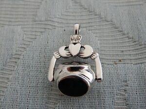 "Unusual Vintage Silver ""Claddagh"" 3 colour agate spinner pendant, estate find"