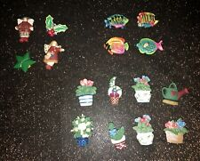 Lot of 15 Quacker Factory Button Covers- Garden Flowers-Tropical Fish- Christmas
