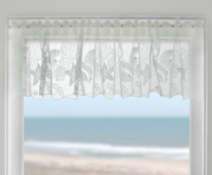 """Heritage Lace White SEASCAPE Window Valance 60"""" Wide x 14"""" Long - Made in USA!"""