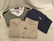 Lot of 3 Men's Longsleeve Cotton Henley Shirts-4XL-Beige-Blue-Lt Gray-NEW-EB47