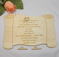 Geschenk zum Geburtstag, gravierte Glückwünsche auf Holztafel, Geb. Zahl 60