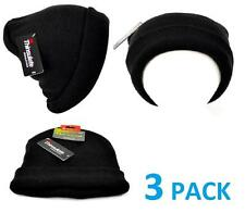 Winter Lot 3 Pack Mens Black Tek Gear Stretch Beanie Hats Warm Thinsulate NEW