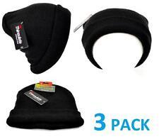 Winter Lot 3 Pack Mens Black Tek Gear Stretch Beanie Hats Warm Thinsulate NEW