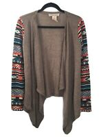Flying Tomato Womens M Aztec Sweater Open Front Cardigan Brown Long Sleeves