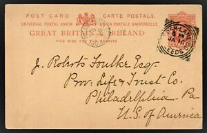 GB 1903 Postal card to USA - LEEDS POSTMARK - Edward VII 1p stamp good condition
