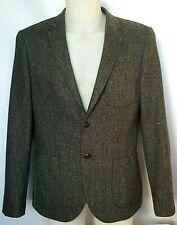 Mens River Island Herringbone Tweed Sports Jacket UK 44-46 Grey Classic Wool Mix