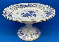 Vintage Schuman Reticulated Blue & White Pedestal Dish, Hand Detailed Excellent!