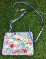 Cath Kidston Blue Floral Print Crossbody Handbag Double Zip