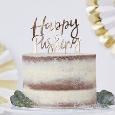 'HAPPY PUSHING' CAKE TOPPER -Metallic Gold-Gender Neutral Baby Shower Decoration