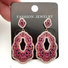 Rose Gold Fillled Fuchsia Cz Pave Stud Earrings