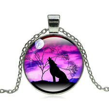 Necklace Wolf Jewelry Animal Lady Necklace Glass Dome Round Pendant Wolf Plug