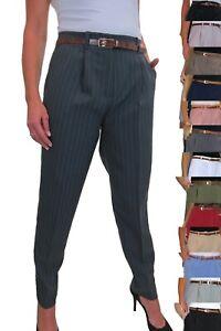 Womens Tapered Leg Smart Soft City Office Work Trousers FREE Belt Size 8-22