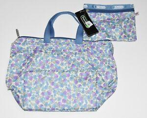NWT Older NOS LeSportsac Tribeca Tote Purse Bag Blue Vineyard Floral pouch set