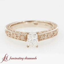 Solitaire Vintage Milgrain Engagement Ring With Radiant Cut Diamond 0.60 Carat