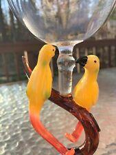 """Sculptured Glass Yellow Love Birds Parrot Wine Glass Hand Blown 9x3.5"""" By Yurana"""