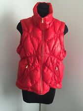 Guess women red down-filled puffer vest front pockets Gold zippers size L