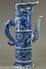 Collectible Old Blue and White Porcelain Paint Dragon Phoenix Exorcism Tea Pot
