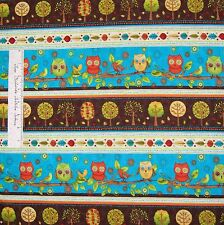 Owl Fabric - Fall Fun Turquoise Orange Brown Stripe - Wilmington Cotton YARD