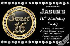 10 X Personalised Sweet 16th BOYS GIRLS Birthday Party Invitations Invites