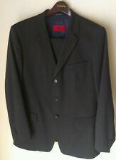 Hugo Boss Suit * 44 R US * Dark Gray, Blue Stripe * Wool Blend * Recent