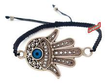 Macrame Bracelet With Hamsa & Evil Eye - Brings Protection - Lucky Charm - Gift