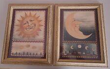 Folk Art SUN MOON Framed Prints Pictures Set wood frame Primitive Country