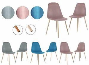 Velvet Fabric Dining Chairs Metal Leg Living Room Dinning Room Grey, Pink, Blue