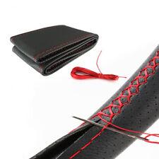 Rabusion Coprivolante in Vera Pelle Fai da Te con Filettatura ad Aghi Linea Rossa Nera Lucida 38 Centimetri