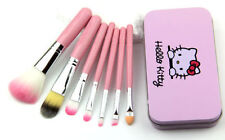 7 Pcs Pink Hello Kitty Cosmetic Makeup Brush Kit Pouch Bag Case Brushes Beauty