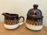 Stoneware Cream & Sugar Bowl With Lid Espresso Brown Diamonds Japan Vintage MCM