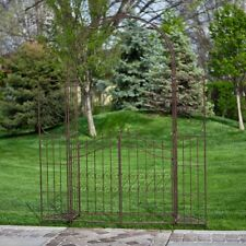 New listing Outdoor Metal Gate Arbor with Plant Stands Garden Pergola Arch Iron Trellises