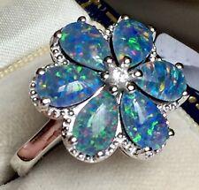Australian Boulder Opal & Zircon Floral  Ring PLATINUM ON SILVER 3.750ct Size P