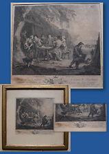 LES MANGEURS D'HUÎTRES -GRAVURE XIXème ENCADRÉE- PRINT THE OYSTER EATERS FRAMED