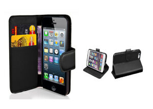 BLACK PU LEATHER WALLET CASE FOR iPHONE 7 PLUS WITH FREE SCREEN PROTECTOR!!