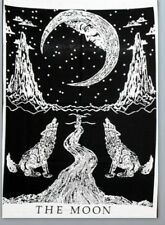 B&W Crying Wolf Moon Indian Wall Hanging Tapestry Hippie Mandala Poster Decor