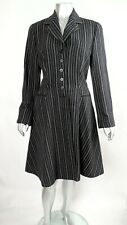 100% Auth Vintage ROMEO GIGLI Blk & Ivory Striped Fit & Flare Coat Jacket 44