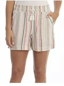 """Briggs Women's Linen Blend Pink Pull-On Shorts with Pockets Medium Inseam 5"""" NWT"""