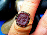 Antique Victorian Deco ring Rose Gold old Sard Intaglio Carved Carnelion Cameo