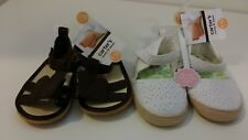CARTERS Size 4 Baby Girl 9-12 Month White Eyelet Shoe Brown Butterfly Sandal LOT