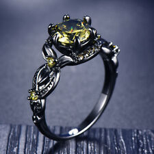 Black Gold Olive Green Round Cut Peridot Flower Shape Ring Wedding Gift Size4-12