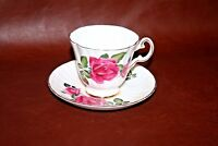 Vintage Royal Grafton English Fine Bone China Cup & Saucer w/ Gilt & Rose Decor