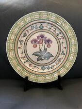 Vintage Decorative Textured Ceramic Plate Hand painted with Flowers 10.5""
