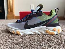 Nike React Element 87 Moss 8-13 Black El Dorado Blue AQ1090-300