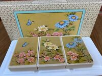 Vintage Avon Soap Set Screen Of Flowers Butterfly Floral Boxed