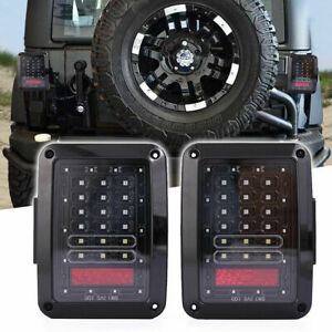 Smoked Red Tail-Lights Replacement For Jeep Wrangler Jk 2007-2018 - Pair